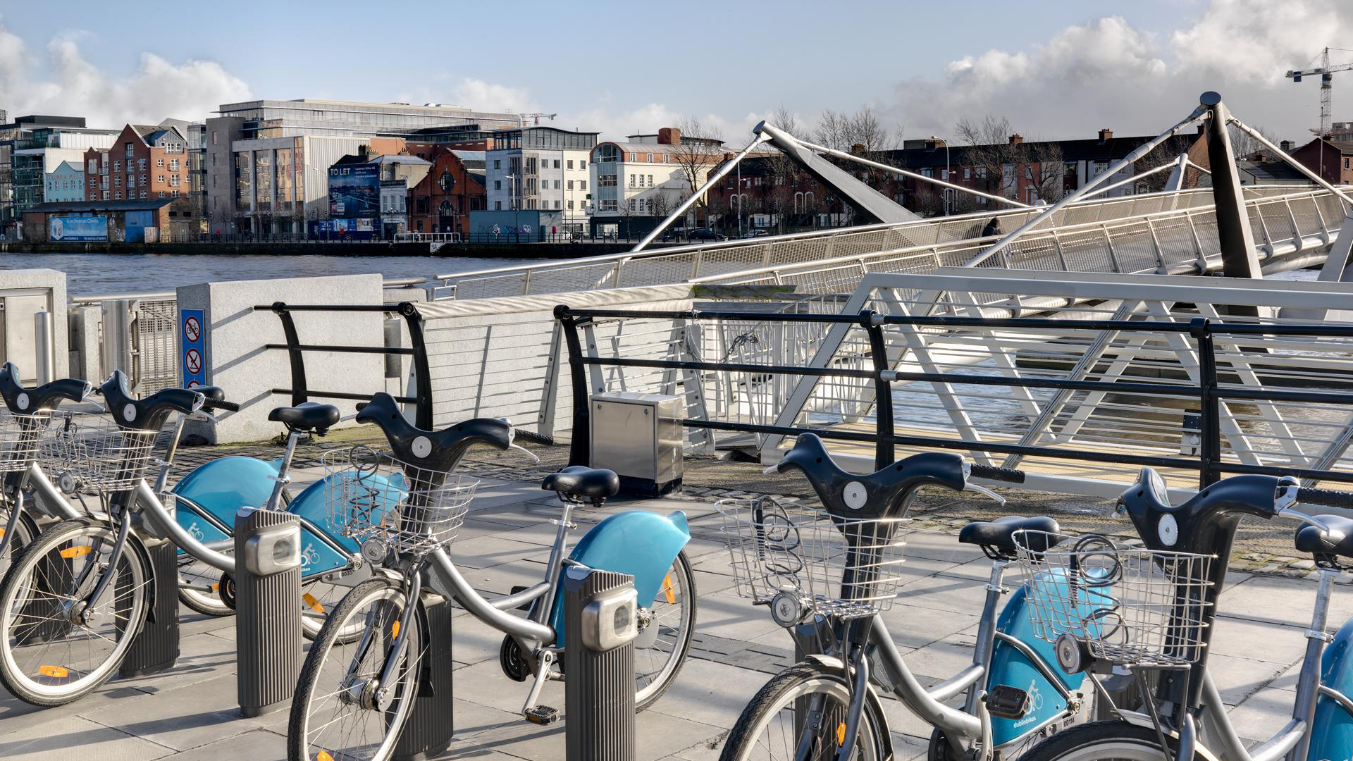 Numerous Dublin Bike stations, and ample car parking spaces